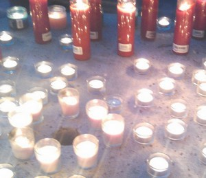 A candle was lit as the name was read, to  remember each person that passed away in 2014.